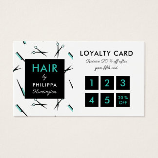 Ciseaux et peignes - carte de fidélité de coiffeur