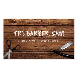 Ciseaux et rasoir rustiques de salon de coiffure carte de visite standard