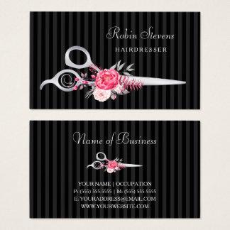 Ciseaux floraux roses chics d'argent de Faux de Cartes De Visite