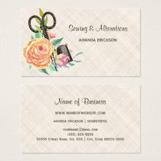 Ciseaux floraux vintages et dé d'ouvrière cartes de visite