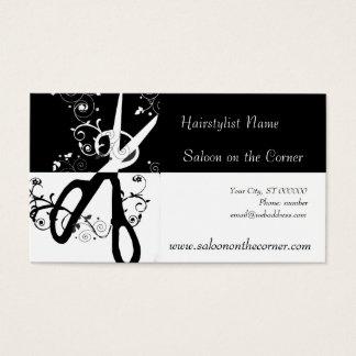 Ciseaux noirs et blancs cartes de visite