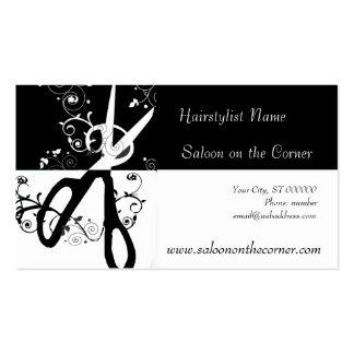 Ciseaux noirs et blancs de salon modèle de carte de visite