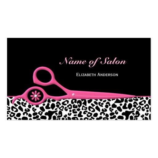 Ciseaux roses et noirs à la mode de salon de coiff cartes de visite personnelles