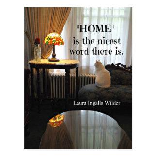 Citation au sujet de maison, par Laura Ingalls Carte Postale