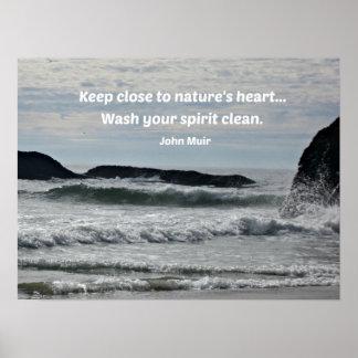 Citation au sujet de nature par John Muir Poster