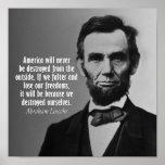 Citation d'Abraham Lincoln sur la liberté Affiche