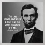 Citation d'Abraham Lincoln sur le succès Poster