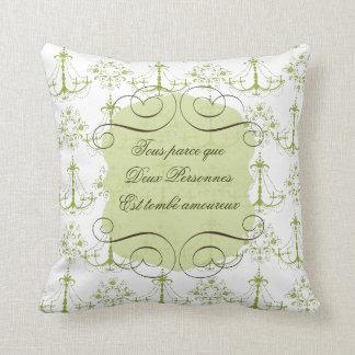 Citation d'amour dans le carreau français oreiller