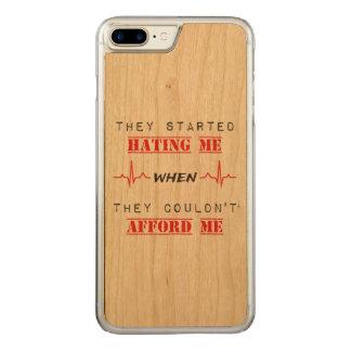 Citation d'attitude sur le cas en bois plus de coque carved pour iPhone 7 plus