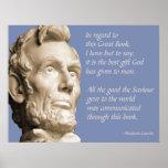 Citation de bible de Lincoln Poster