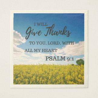 Citation de bible de thanksgiving serviettes jetables