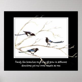 Citation de famille avec la famille d'oiseau de pi poster