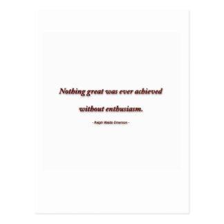 Citation de la vie par Ralph Waldo Emerson - rien Carte Postale