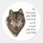 Citation de loup et de paquet - collection animale adhésifs ronds