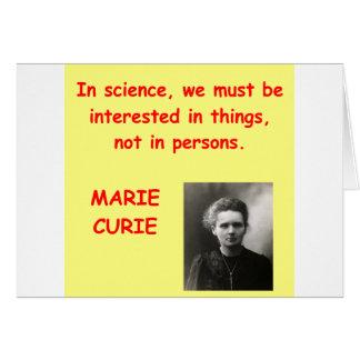 Citation de Marie Curie Carte De Vœux