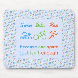 Citation de pictogramme de course de vélo de bain tapis de souris
