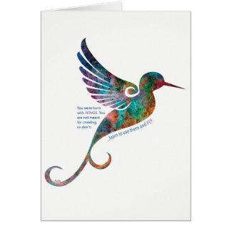 Citation de Rumi avec la carte de voeux de colibri
