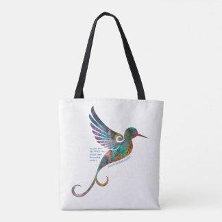 Citation de Rumi avec le sac fourre-tout à colibri