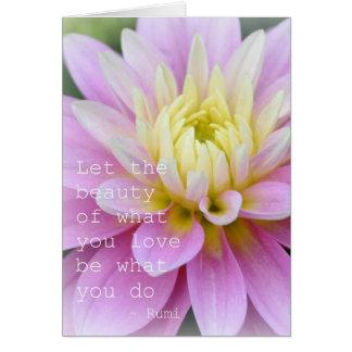 Citation de Rumi de carte de dahlia de fleur de