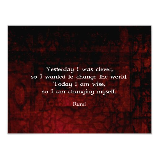 Citation de sagesse de Rumi au sujet de changement Tirage Photo ...