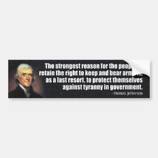 Citation de Thomas Jefferson Autocollant Pour Voiture
