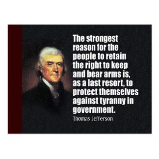 Citation de Thomas Jefferson Cartes Postales