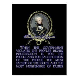 Citation du marquis De Lafayette sur Carte Postale