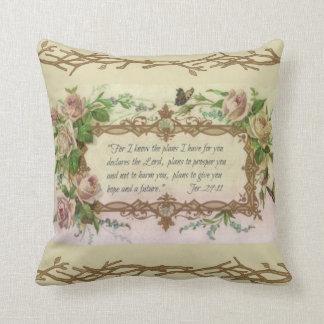 Citation florale vintage d'écriture sainte de coussin décoratif