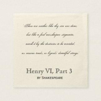 Citation Henry VI, serviette d'insulte de Serviette Jetable