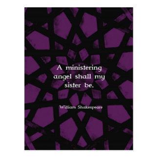 Citation inspirée de soeur de William Shakespeare Carte Postale