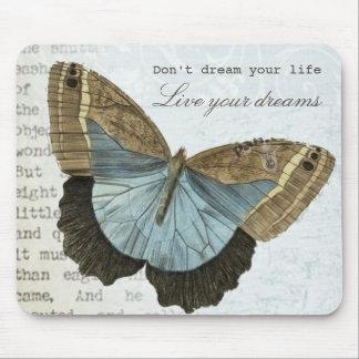 Citation inspirée positive de papillon vintage tapis de souris