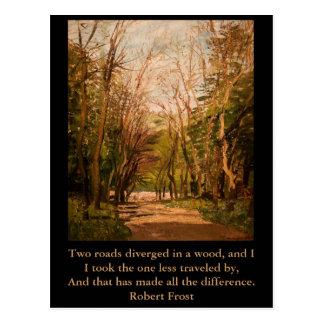 Citation inspirée Robert Frost de carte postale