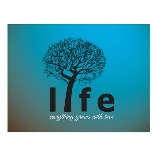 Citation inspirée turquoise d'arbre de la vie cartes postales