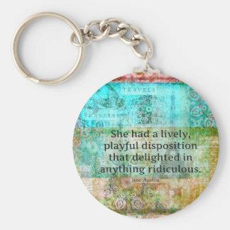 Citation mignonne de Jane Austen de fierté et de Porte-clé Rond
