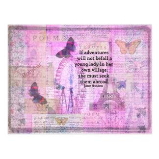 Citation mignonne de voyage de Jane Austen avec l' Carte Postale