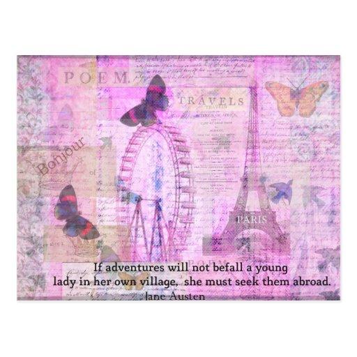 Citation mignonne de voyage de Jane Austen Cartes Postales