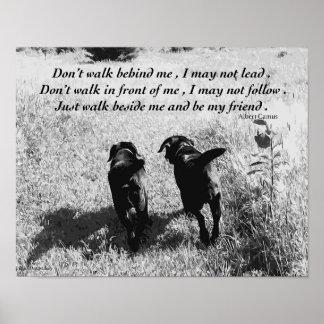 Citation noire d'amis de Labrador Poster