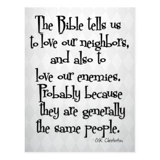Citation religieuse chrétienne drôle GK Chesterton Carte Postale