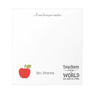 Citation rouge de pomme et votre professeur des bloc-note