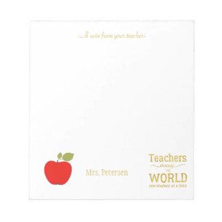 Citation rouge d'or de pomme et votre professeur bloc-note