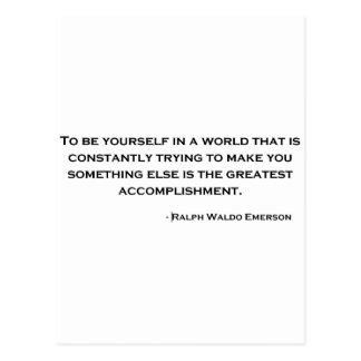 Citation sage de Ralph Waldo Emerson Carte Postale