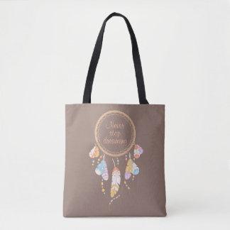 Citation tribale de Dreamcatcher Boho Brown Tote Bag