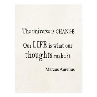 Citation vintage de la vie de changement d'univers carte postale