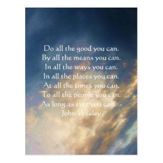 Citation vivante de John Wesley avec des nuages de Cartes Postales