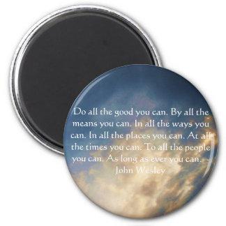 Citation vivante de John Wesley avec des nuages de Magnet Rond 8 Cm