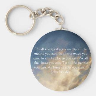 Citation vivante de John Wesley avec des nuages de Porte-clé Rond