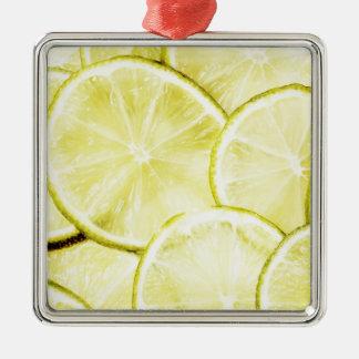 Citron 2 ornement carré argenté