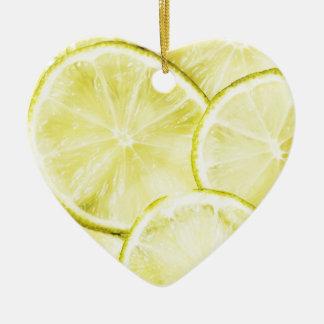 Citron 2 ornement cœur en céramique