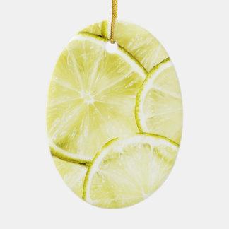 Citron 2 ornement ovale en céramique
