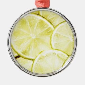 Citron 2 ornement rond argenté